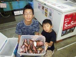 21日、堺漁港でガシラ大漁 シラサエビをエサにズボ釣り