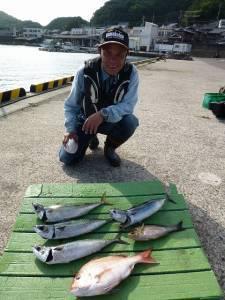 沖一文字外向き、カゴ釣りで魚種多様に釣れています
