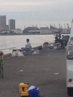 兵庫突堤にてタチウオエサ釣り 夜中はかなり冷え込みます