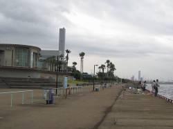 鳴尾浜海釣り広場 テンヤでタチウオ、手前の表層でヒット
