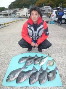 神谷 カゴ釣りでグレ・ハマチ・イサギ・小ダイの釣果