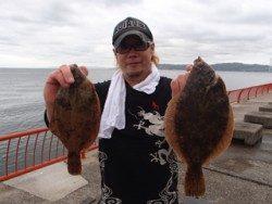 神戸市立平磯海づり公園 投げ釣りでカレイ34cm&27cm