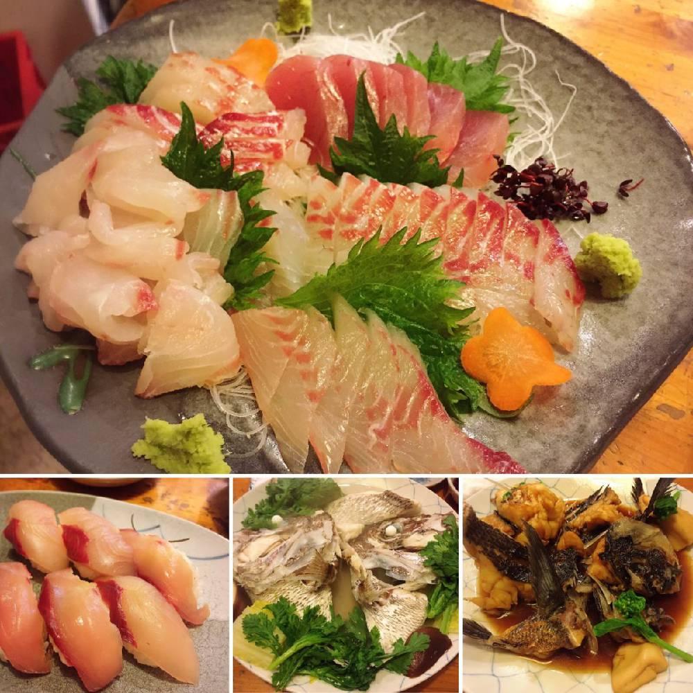 お造り、酒蒸し、お寿司、グレの煮付け