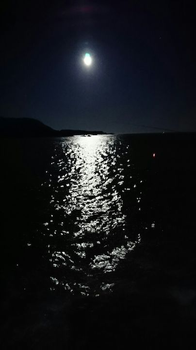 海面を照らす月の明かり