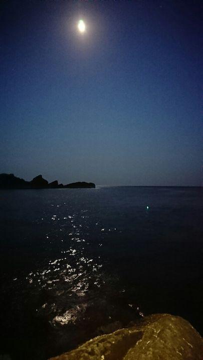 大きな月が煌々と海面を照らす